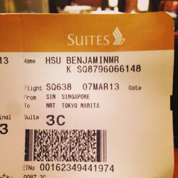 Singapore Airlines A380 Suites boarding pass