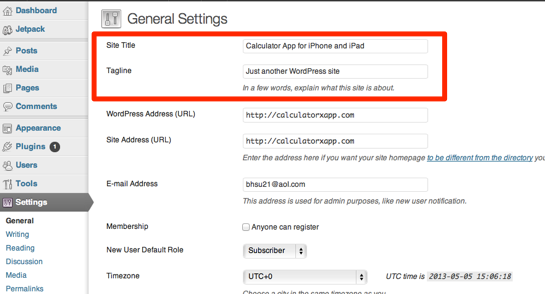 Setup your WordPress Blog Settings in your Dashboard