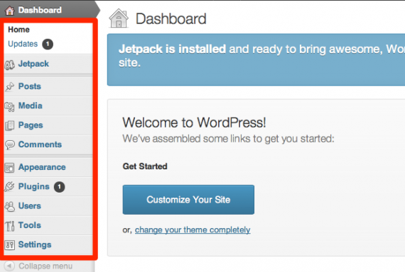 Quick tour of the WordPress Dashboard