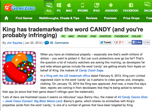 Candy Crush Trademark Candy